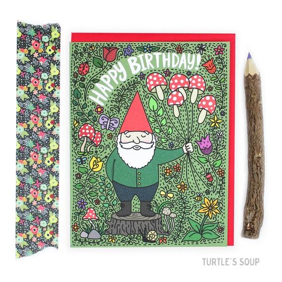 Gnome Birthday Card Mushroom Birthday Card Plant Mom Card Etsy