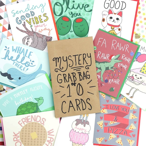 Mystery Grab Bag 10 Cards Christmas Surprise Box Blind Etsy