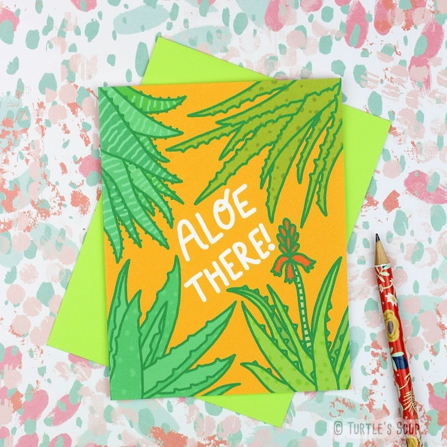 Succulent Card, Aloe There, Aloe Greeting Card, Hello Note Card, Thinking of You, Plant Lover Card, Cacti and Succulent Card, Aloe Gift