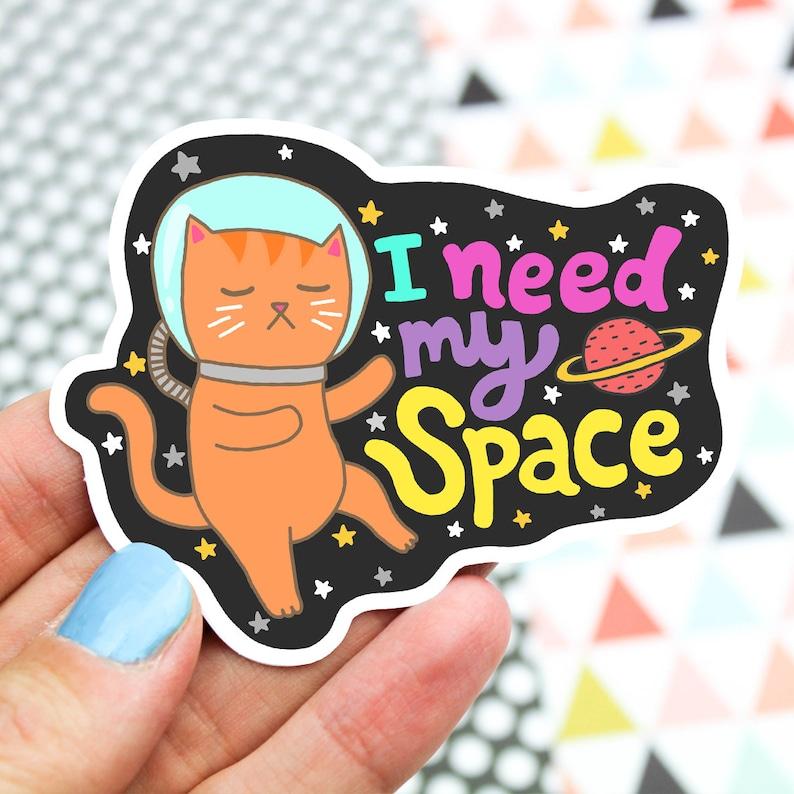 Introvert Sticker I Need My Space Cat Sticker Laptop image 0
