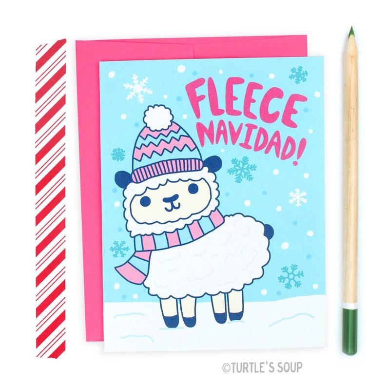 Cute Christmas Puns.Feliz Navidad Christmas Puns Sheep Card Cute Animals Boxed Cards Funny Holiday Card Winter Snow Card For Her Bulk Xmas Cards Fleece