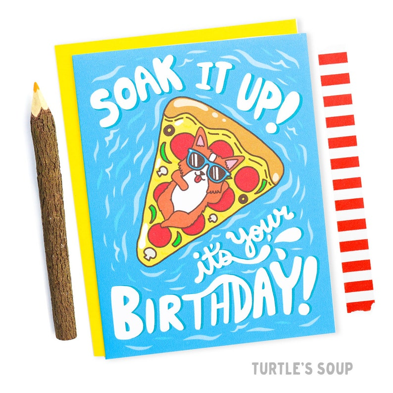 Pizza Birthday Card Corgi Funny Pool Party Summer Art Lover Gift Floats For Her