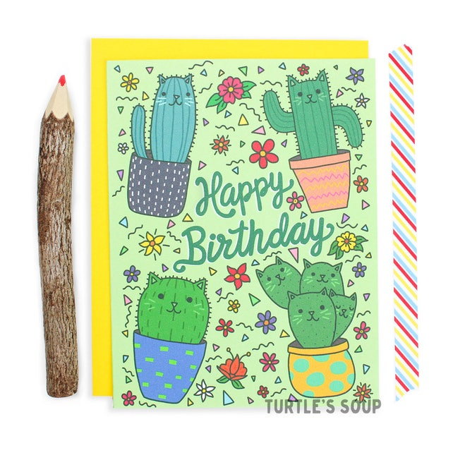 Cactus Birthday Card, Cat Birthday Card, Cacti Card, Succulent Card, Cat Pattern Card, Plant Card, Happy Birthday Cactus Card, Cute Birthday