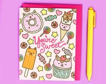 You're Sweet Friendship Card, Pastel Kitty Card, Cute Love Card, Crush Card, Ice Cream Kitty, Donut Cat, Kawaii, Baked Goods, Cat Card