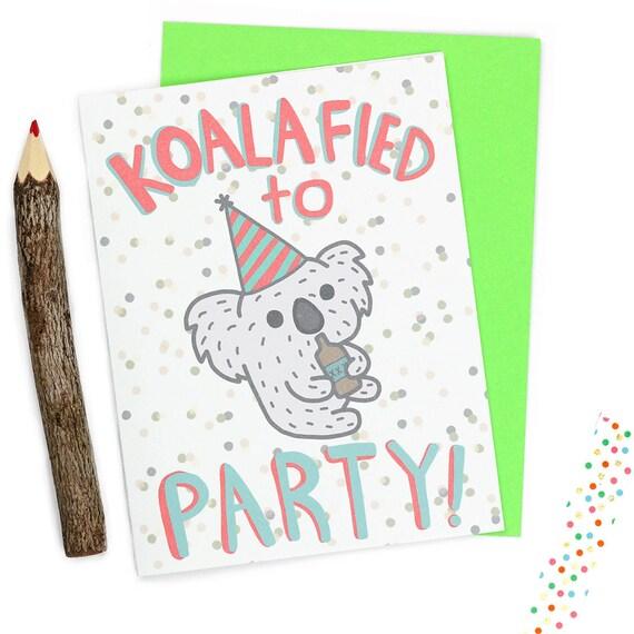 Funny Birthday Cards Koala Koalafied 21st Birthday Animal Etsy