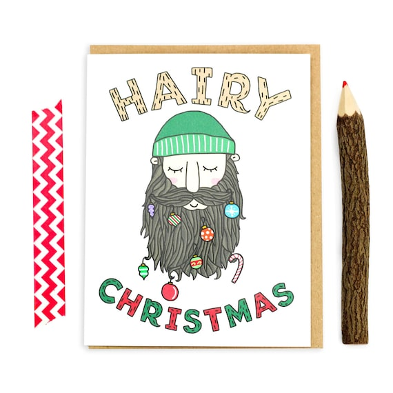 Funny Holiday Card, Hairy Christmas, Beard Season, Christmas Cards, Beard Gift, No Shave, Mustache Card, Decembeard, Moustache, Card For Him