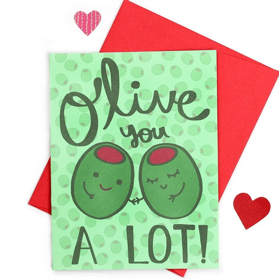 Olive You Gift For Her Cute Valentine Puns Love Puns I Etsy