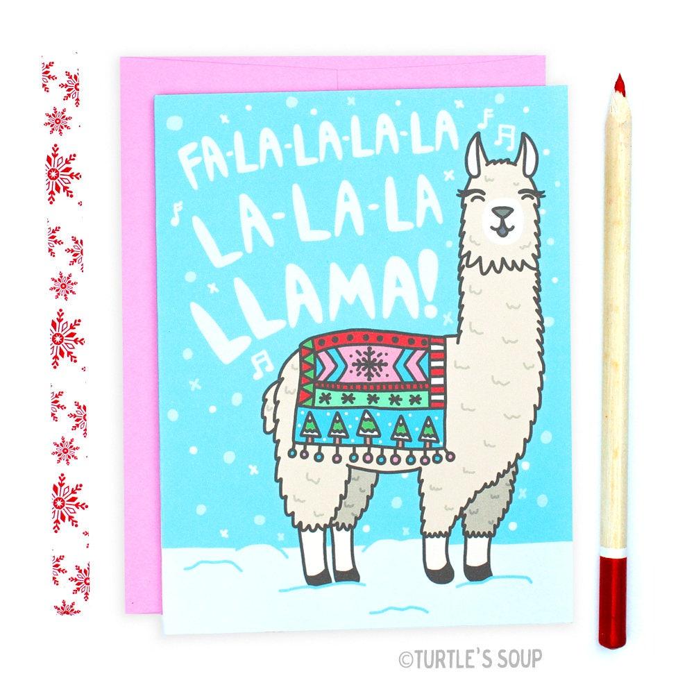 Funny Llama Christmas Card Llama Holiday Card Funny | Etsy