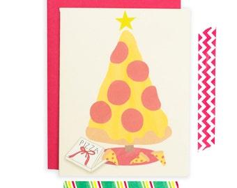 Drôle carte de Noël, carte de Noël de Pizza, Pizza Holiday Card, carte de voeux de Pizza, carte de Noël