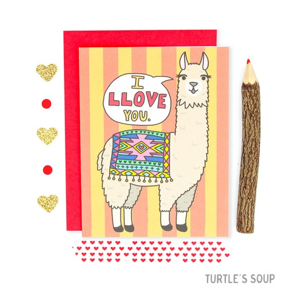 Llama Valentine S Day Card I Love You Funny Love Card Etsy