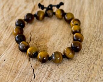 Tiger Eye Bracelet-Gemstone Bracelet-Men's Bracelet-Unisex Bracelet-Adjustable Bracelet-Knotted Bracelet-Reiki Gift- FREE SHIPPING WORLDWIDE