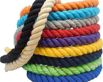 SOFT GREY 5 metres x 12mm Soft Cotton 3 StrandTwist Rope