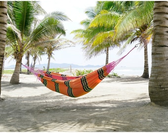 FMS Deluxe Indoor / Outdoor Multicolor Handmade Tropical Mayan Hammock - Extra Large - Cotton - Portable, Soft and Most Comfortable Hammock