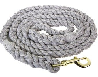 FMS Twisted Cotton Rope Dog Leash, Horse Lead- 1/4 inch x 6 Foot or 1/2-inch x 6 Foot, 10 Foot or 25 Foot Handmade in the USA (Grey)