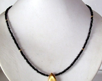 Dainty Gorgeous sparkling black spinell necklace - black necklace -statement necklace - event necklace -  vintage - bridal