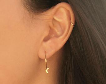 Moon Hoop Earrings - MAIVE by Seoul Little - M3502