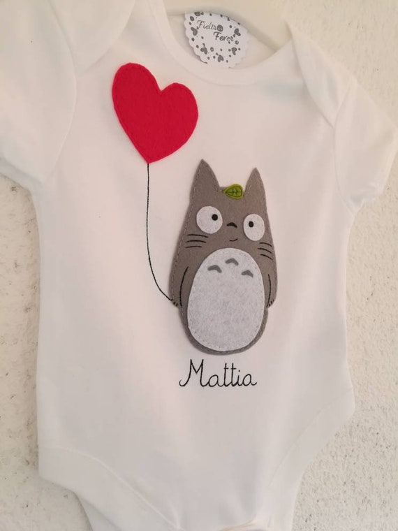 baby totoro onesie made in felt and sewn by hand