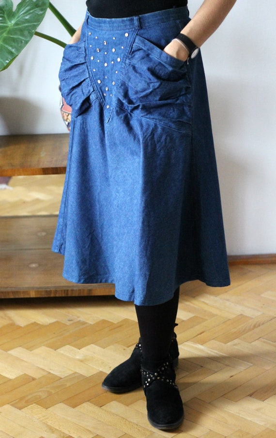80s Denim Skirt~Extended Skirt~Skirt with Applique