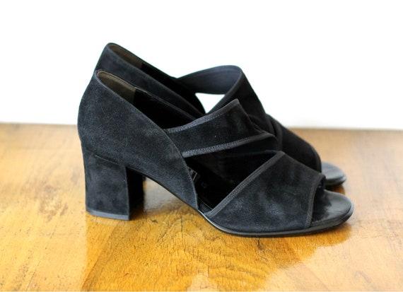 Suede Shoes~Clack suede Vintage High Heels~Square