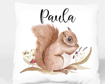 Pillow Cover Squirrel Boho named Gift Christmas Birth Baptism Baby Girl