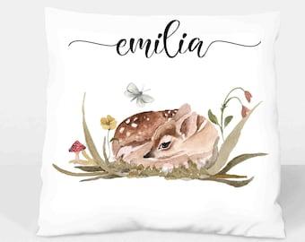 Pillow Cover Fawn Boho named Gift Christmas Birth Baptism Baby Girl