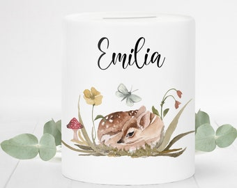 Money box with name, personalized, fawn boho, gift for birth, gift school enrollment, gift baptism, girl