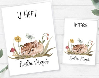 U-booklet and vaccination certificate sleeve SET, Rehlitz Boho girl baby shower with name and date of birth, gift birth