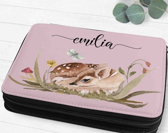 Filled Feather Folder Feather Bag Children with Names Flowers Fawn Forest Animals Boho Gift SchoolIng School Girl