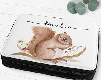 Filled Feather Folder Feather Bag Children with Names Flowers Squirrel Forest Animals Boho Gift SchoolChild Girls