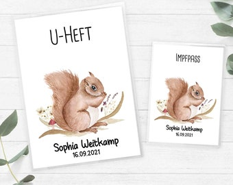 U-booklet and vaccination certificate cover SET, squirrel boho girl baby shower with name and date of birth