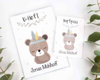 U-heft sleeve and vaccination passport case boy bear Indians with name