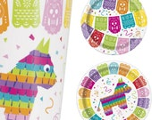 Boho Fiesta plates and cups, pinata Mexican floral paper plates mexican fiesta serviettes floral theme disposable napkins floral tableware