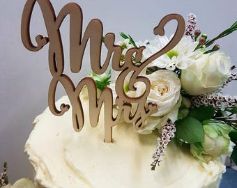 Mr And Mrs Cake Topper Wood Wedding Rustic Laser Cut Wooden