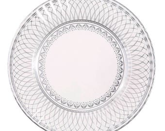 8x silver paper plates paper plates disposable plates party porcelain silver and white high tea party party plates wedding tableware  sc 1 st  Etsy & 12 x Chevron plates disposable plates party plates paper