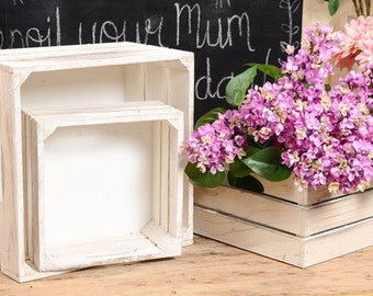 Set of 3, Wooden Crates, Square Boxes, Timber boxes, Rustic wedding, Woodland Wedding, table centrepiece, floral arrangement, White wash box
