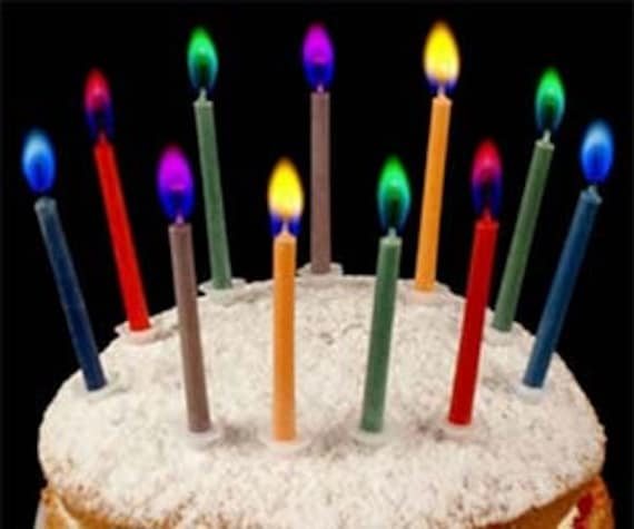 12x Coloured Flame Candles Birthday