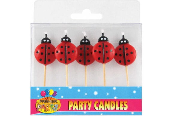 5 X Ladybug Candles Ladybird Party Woodland Birthday Red