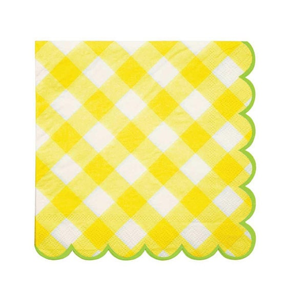 20x Yellow Napkins Gingham Napkins Picnic Party Check Paper Etsy