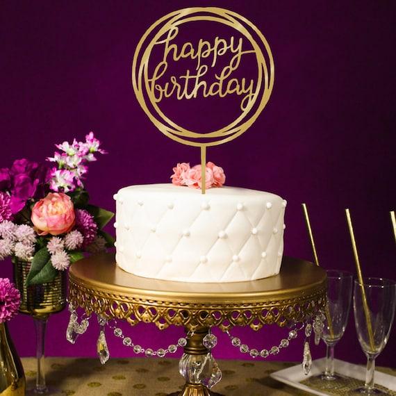 Happy Birthday Topper Mirror Cake Gold