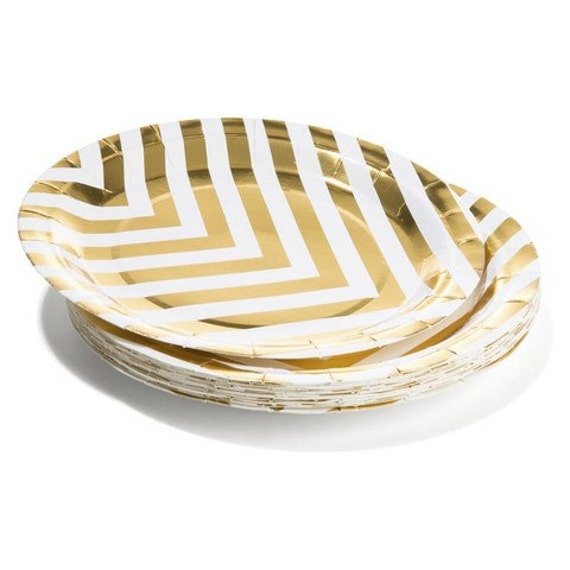 8 x party paper plates gold foil chevron disposable plates party plates pink and gold gold decor tableware gold party paper plates from ...  sc 1 st  Etsy Studio & 8 x party paper plates gold foil chevron disposable plates party ...
