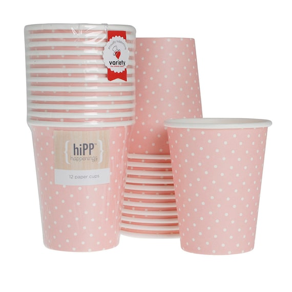 Pink and White Cups  Pink and White Polka Dot Cup  Pink Polka Dot Cup  Bridal Shower Cup  Baby Shower Cup  Pink Paper Cup  Pink Party