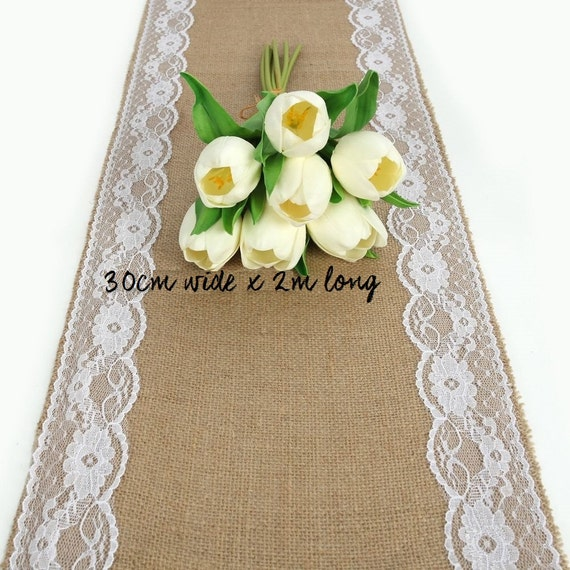 Hessian And Lace Rustic Table Runner Wedding Table Etsy