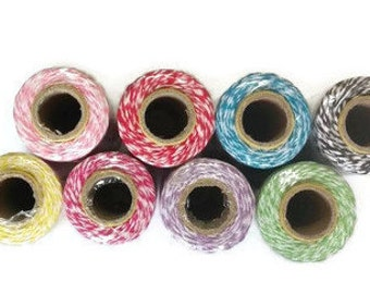 Bakers twine in 8 colours, 120 metres per roll. Bakers twine, striped string, gift wrapping, diy wedding, cotton twine, diy invitation, jute