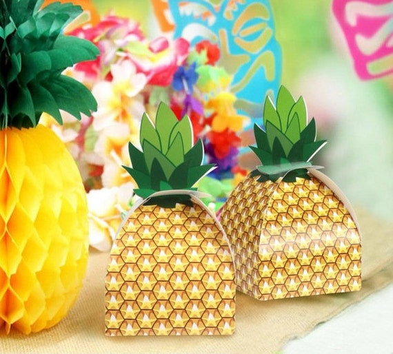 Hawaiian Luau Party Wedding Supplies Pineapple Wedding Foil Favour Boxes x8 Celebrations & Occasions