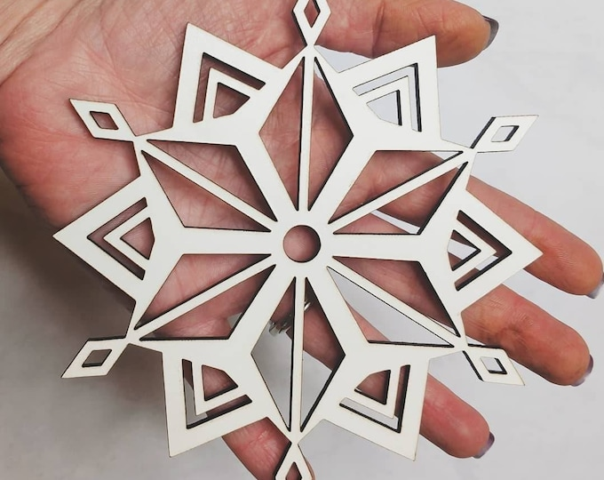 Featured listing image: Large 5 inch Wooden Snowflake Ornament