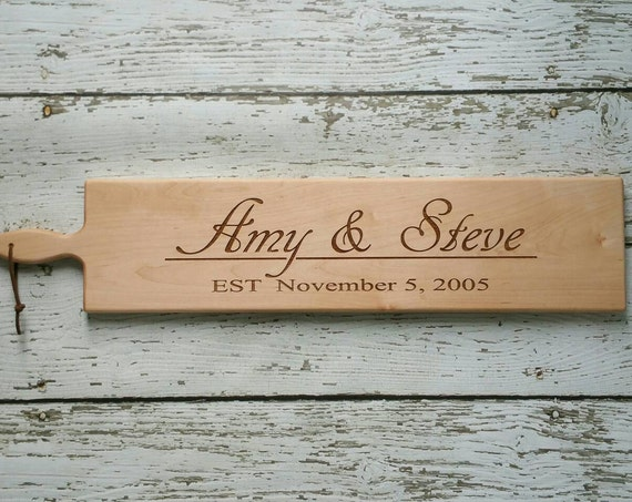 26 inch- Personalized Wooden Serving Bread Board in Walnut or Maple- SCRIPT NAME & DATE Engraved Wedding Gift- By Red Maple Run