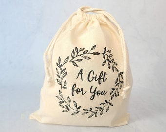 QUANTITY DISCOUNT- Lot of 10 Handprinted Muslim Cotton Gift Bags 9 x 12