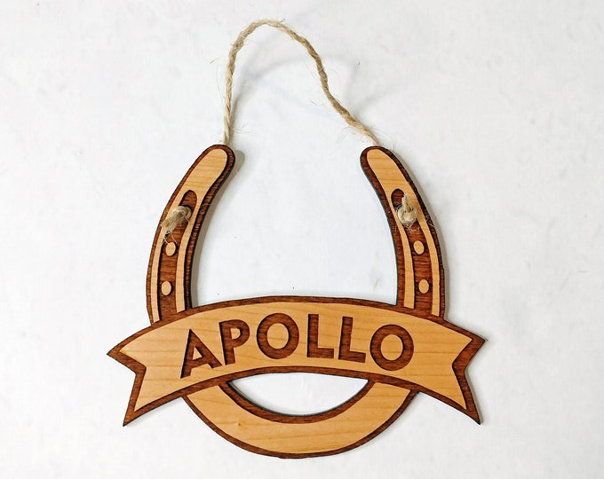 Featured listing image: Personalized Horseshoe Wooden Christmas Ornament