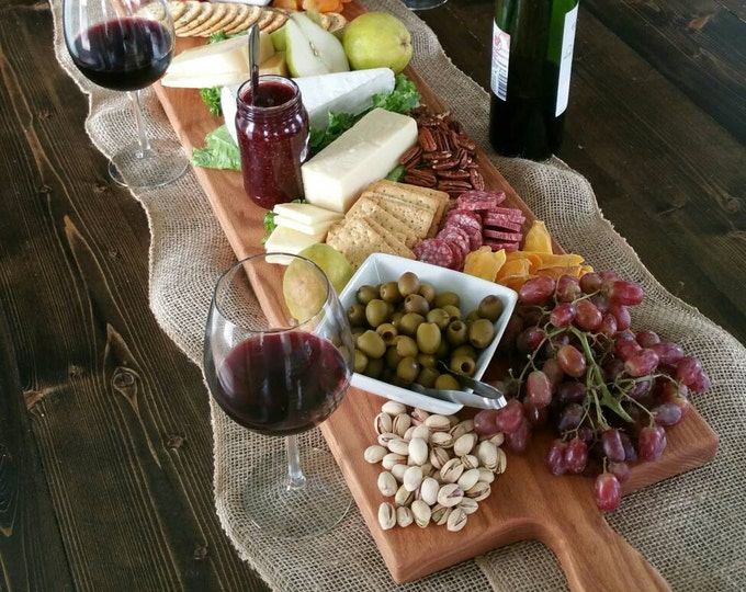 Featured listing image: 42 Inch OAK Extra Large Wooden Serving Platter- Cheese Board with optional engraving