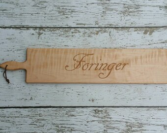 26 inch- Personalized French Bread Board in Walnut or Maple- SCRIPT Name Engraved Wedding Gift- By Red Maple Run